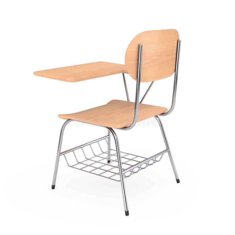 Tabella di legno dello scrittorio della scuola o dell'istituto universitario di conferenza con la sedia rende 3D illustrazione vettoriale