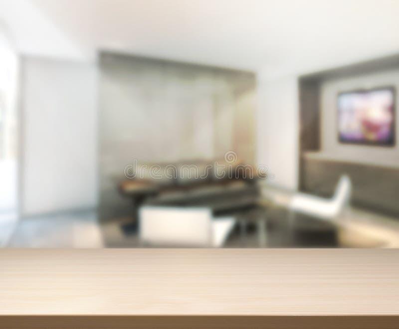 Tabella di legno di fondo in salone immagine stock