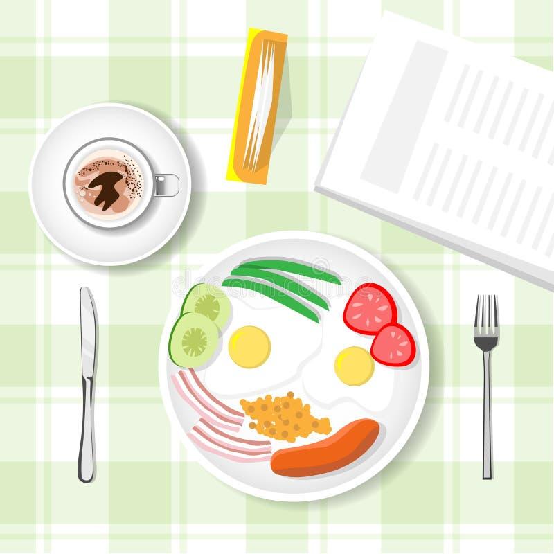 Tabella di prima colazione, porridge, salsiccia, tazza della tazza con sì la vista superiore del caffè illustrazione vettoriale