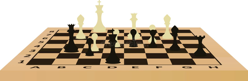 Tabella di scacchi Vista di prospettiva illustrazione di stock