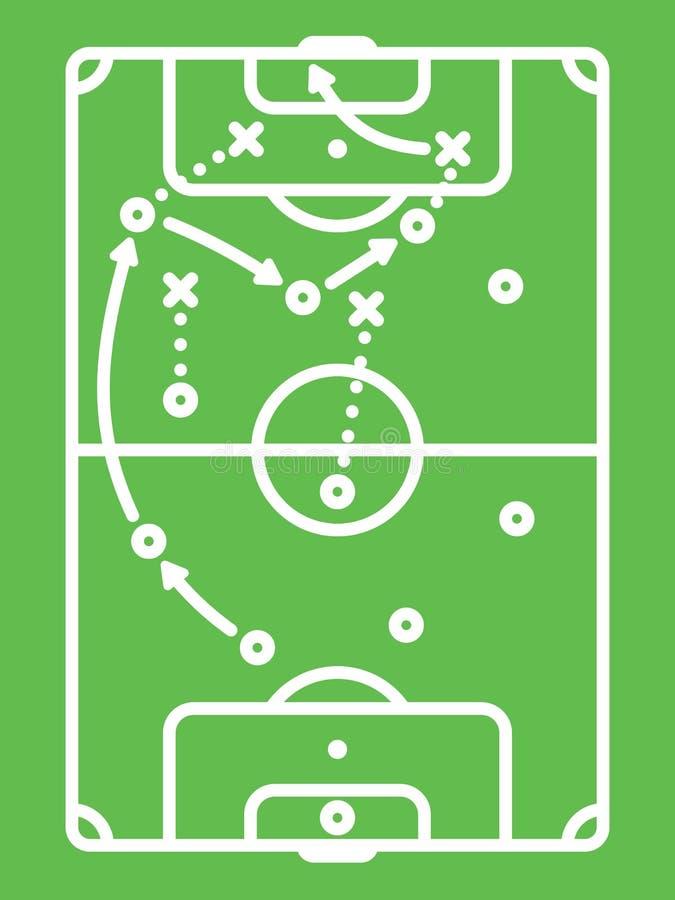 Tabella di tattica calcio/di calcio Linea arte illustrazione vettoriale