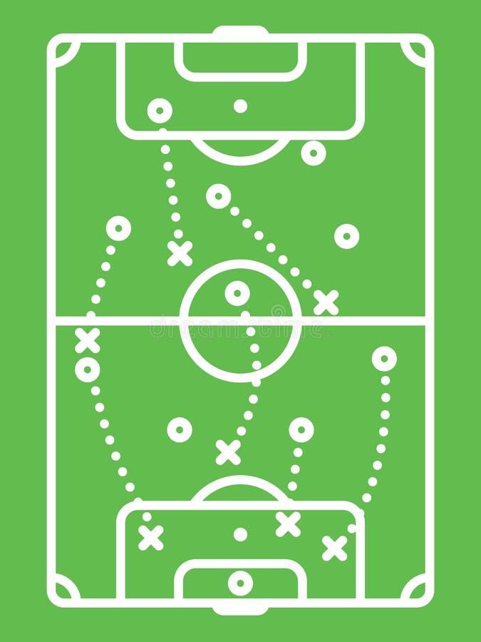 Tabella di tattica calcio/di calcio Schema di protezione Linea arte illustrazione di stock