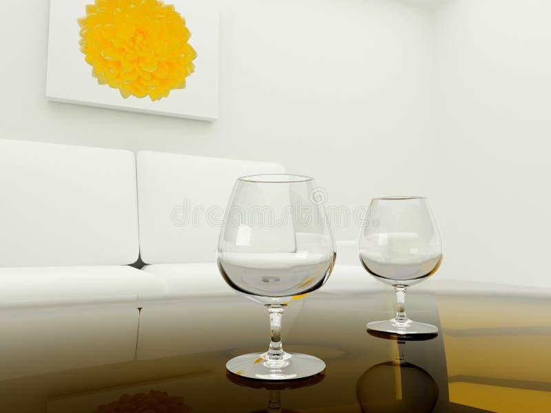 tabella di vetro due della stanza illustrazione vettoriale