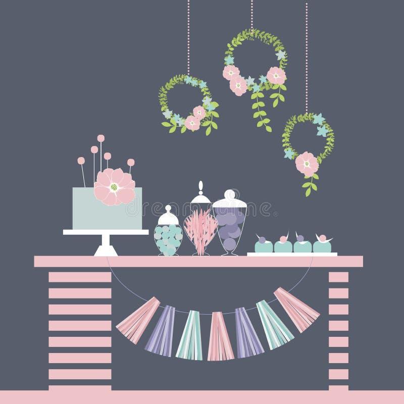 Tabella dolce Barra del dessert di nozze illustrazione di stock