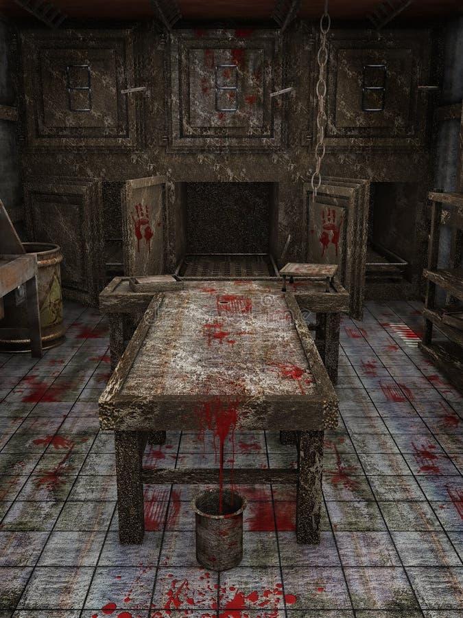 Tabella e secchio con sangue illustrazione vettoriale