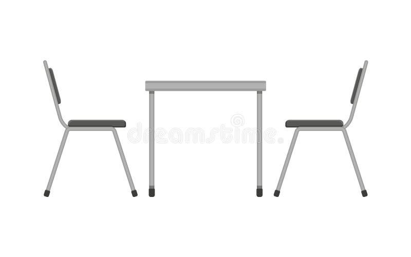 Tabella e sedia Mobilia del ristorante Vista laterale royalty illustrazione gratis