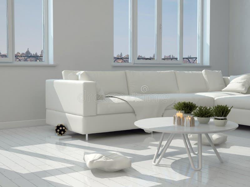 Tabella e sedie bianche al salone moderno illustrazione vettoriale