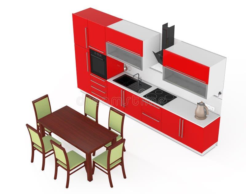 Tabella e sedie davanti alla mobilia rossa moderna della cucina con K royalty illustrazione gratis
