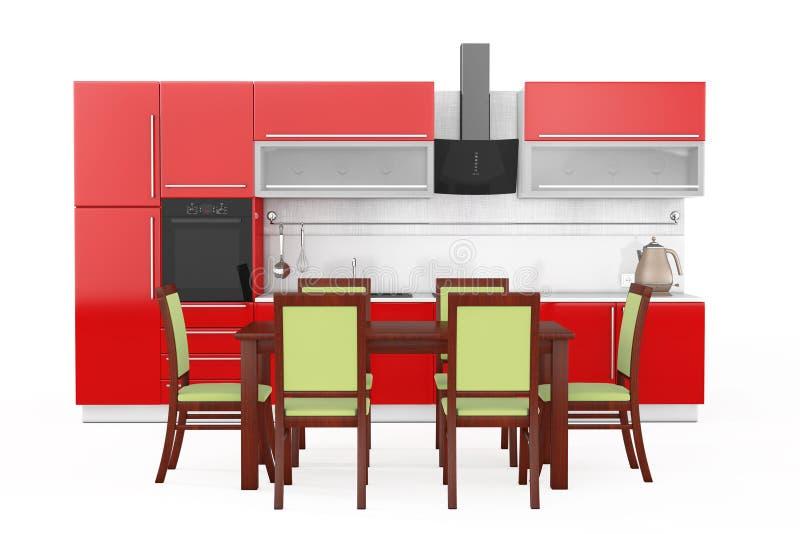 Tabella e sedie davanti alla mobilia rossa moderna della cucina con K illustrazione di stock