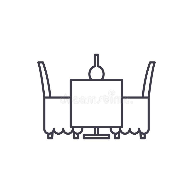 Tabella e sedie nella linea concetto del ristorante dell'icona Tabella e sedie nell'illustrazione lineare di vettore del ristoran illustrazione di stock