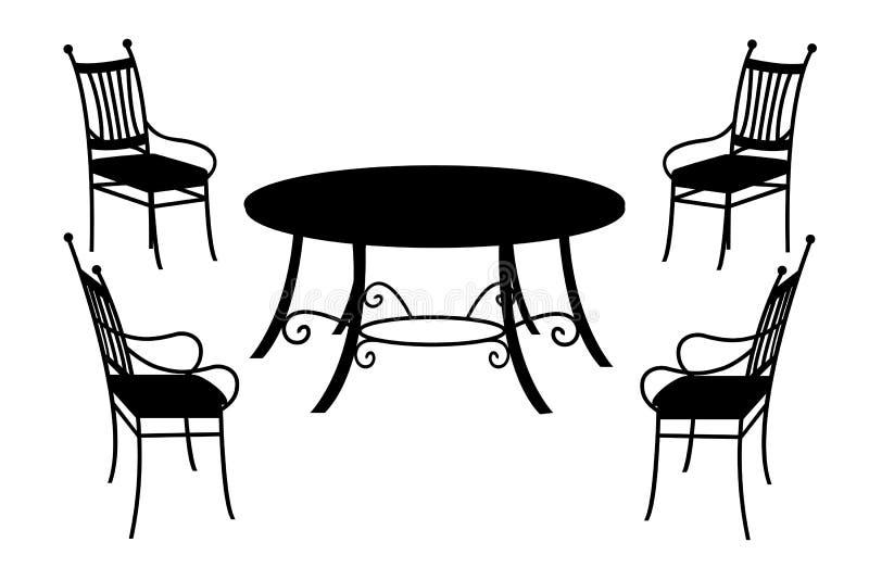 Tabella e sedie, siluetta nera isolata su bianco illustrazione di stock