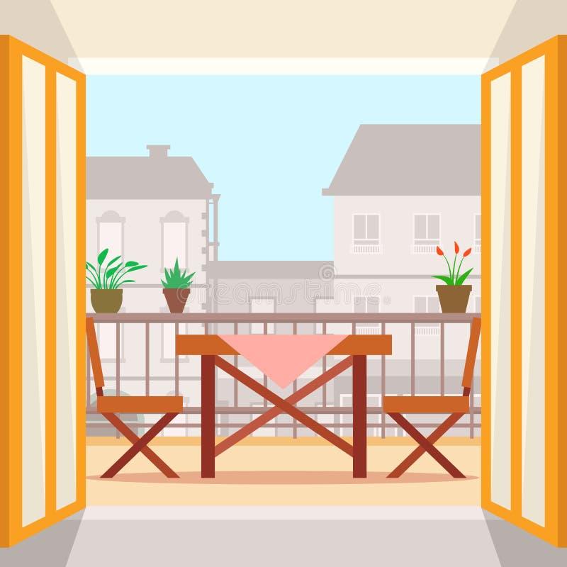 Tabella e sedie sul balcone royalty illustrazione gratis