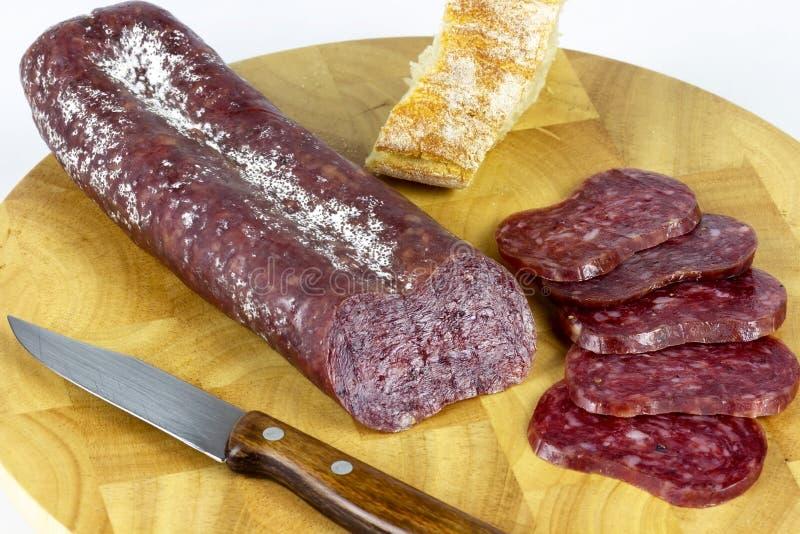 Tabella iberica della salsiccia fotografie stock