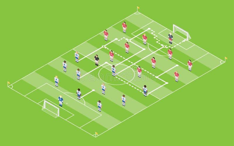 Tabella isometrica di tattica di calcio/calcio di stile Campo con lo schema del gioco illustrazione di stock