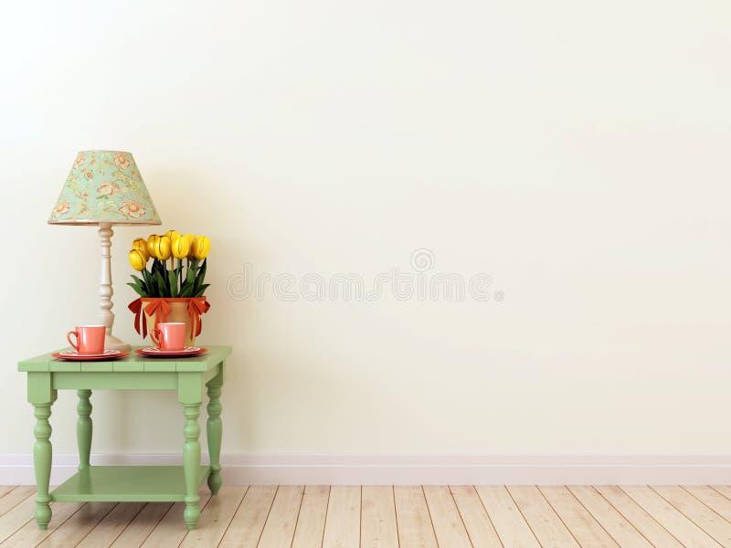 Tabella laterale verde con la decorazione nell'interno immagini stock