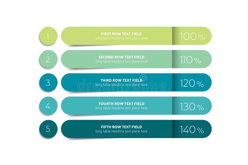 Tabella, modello di progettazione di programma con la fila 5 illustrazione di stock