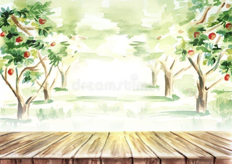 Tabella nel paesaggio del giardino della frutta Acquerello disegnato a mano illustrazione vettoriale