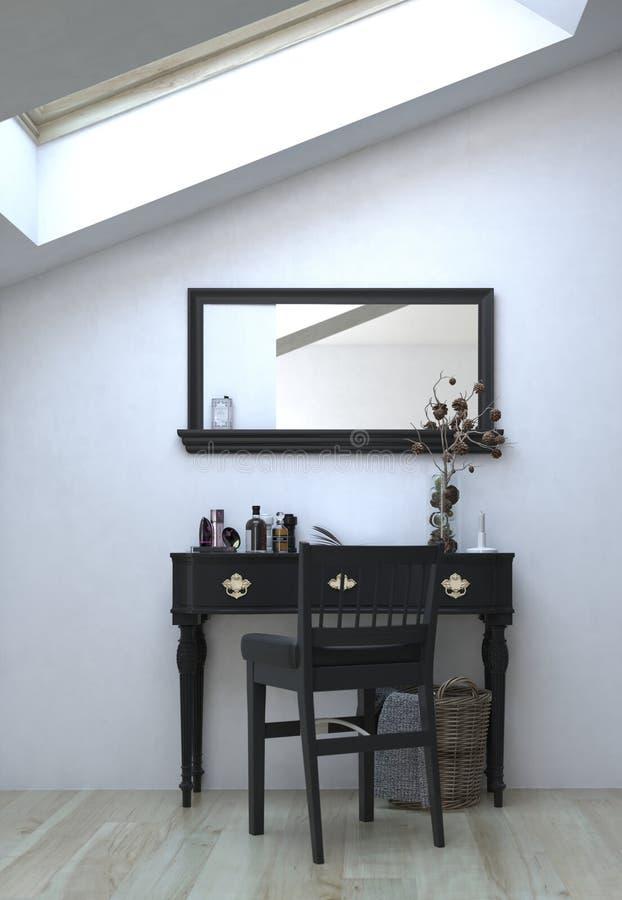 Tabella nera con la sedia e specchio sulla parete bianca illustrazione vettoriale