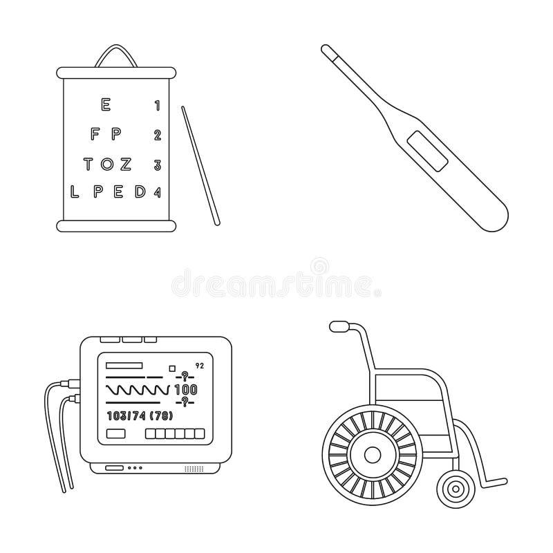 Tabella per il controllo della vista, termometro elettronico, dispositivo di ECG Icone stabilite della raccolta della medicina ne royalty illustrazione gratis