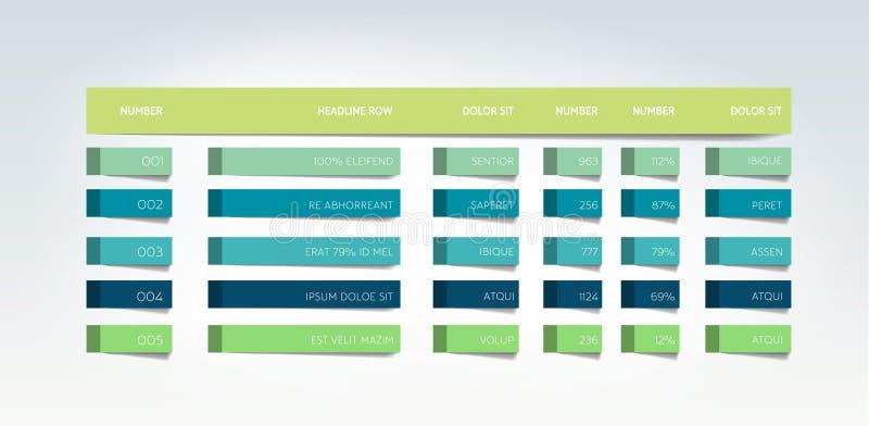 Tabella, programma, linguetta, pianificatore, modello infographic di progettazione illustrazione vettoriale