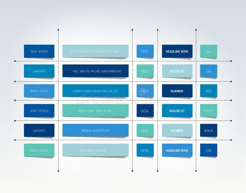 Tabella, programma, linguetta, pianificatore, modello infographic di progettazione royalty illustrazione gratis