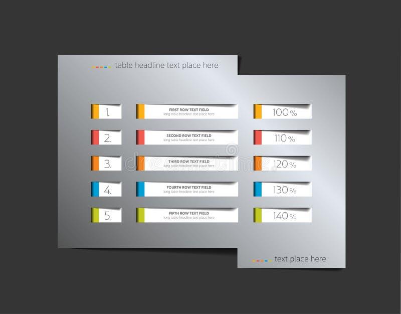 Tabella, programma, modello infographic di progettazione con la fila 5 illustrazione di stock