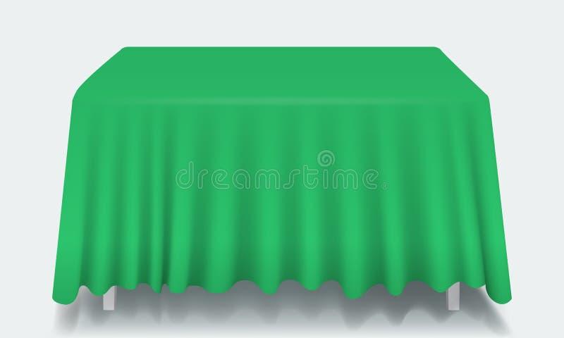 Tabella rettangolare vuota verde di vettore con la tovaglia royalty illustrazione gratis