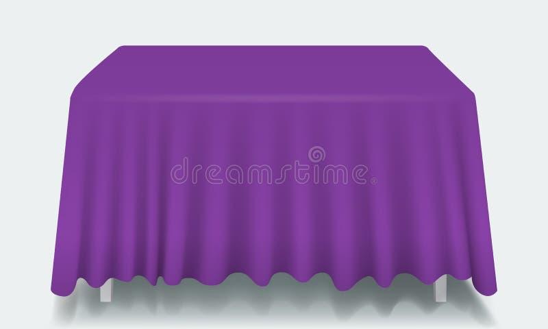 Tabella rettangolare vuota viola di vettore con la tovaglia illustrazione di stock