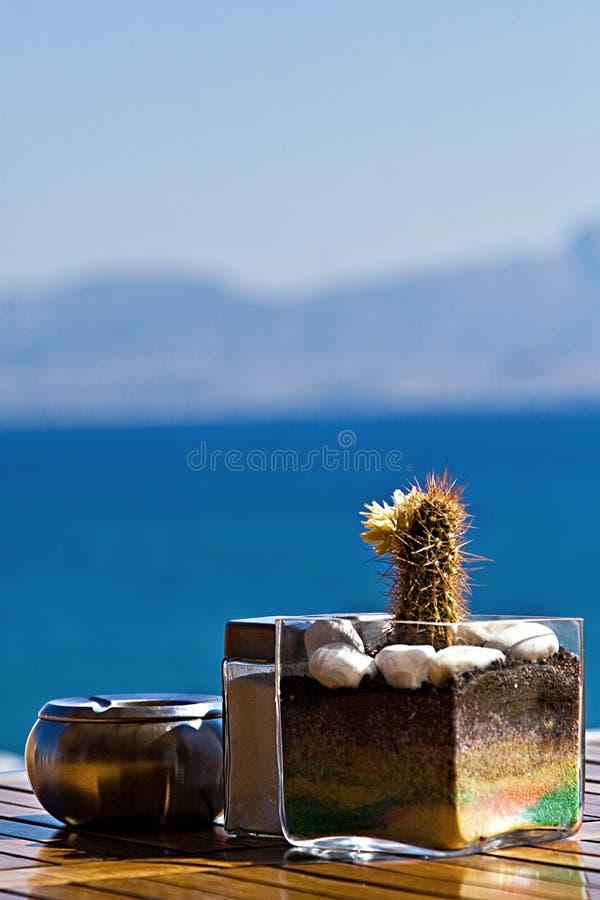 Tabella in ristorante alla spiaggia fotografia stock libera da diritti