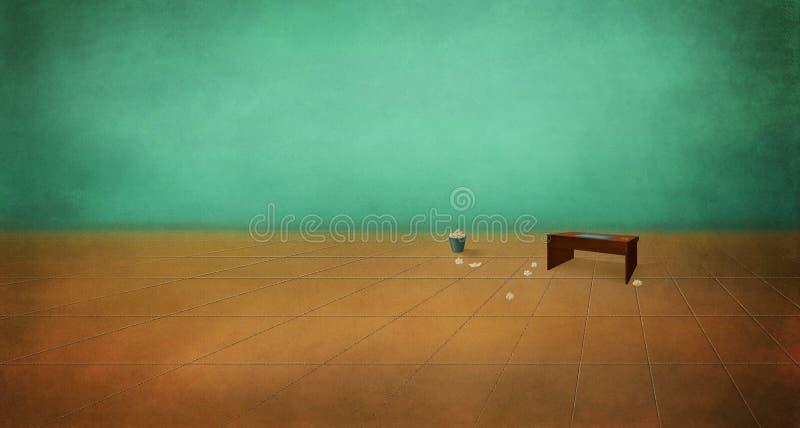 Tabella in una stanza vuota illustrazione di stock
