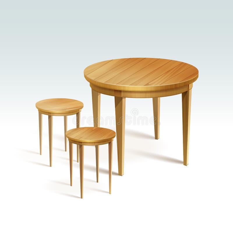 Tabella vuota di legno rotondo di vettore con due sedie illustrazione vettoriale