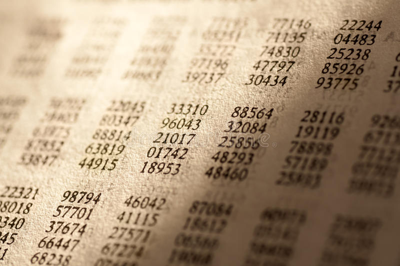 Tabelle der gelegentlichen Zahlen stockbilder