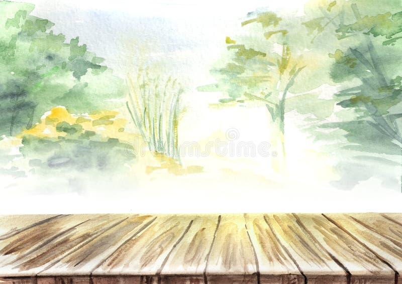 Tabelle in der Landschaft Picknick Hand gezeichnete Aquarellschablone lizenzfreie abbildung