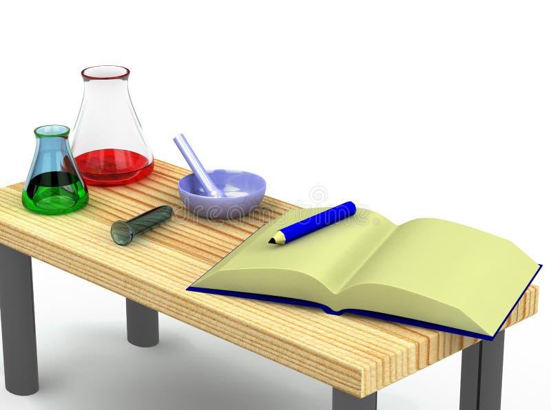 Tabelle des Chemikers 3d mit Reagenzgläsern vektor abbildung