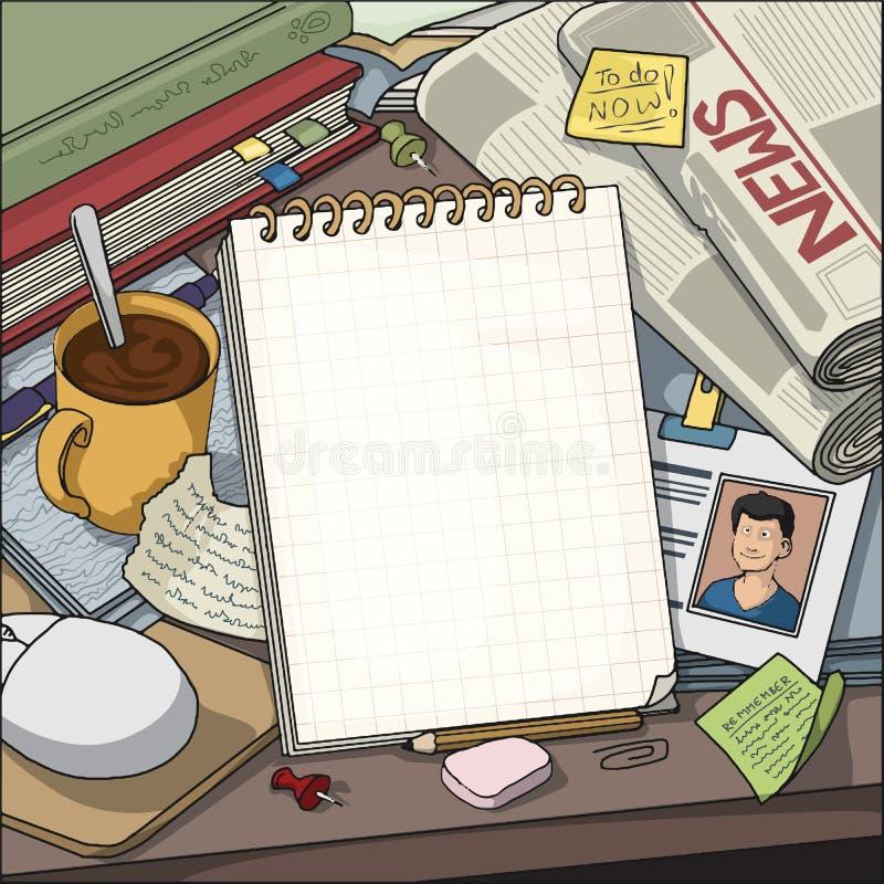 Tabelle mit den verschiedenen Gegenständen, die ein leeres Anmerkungsbuch umgeben lizenzfreie abbildung