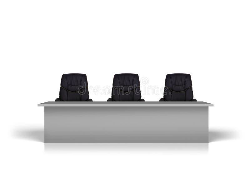 Tabelle mit drei schwarzen Stühlen stock abbildung