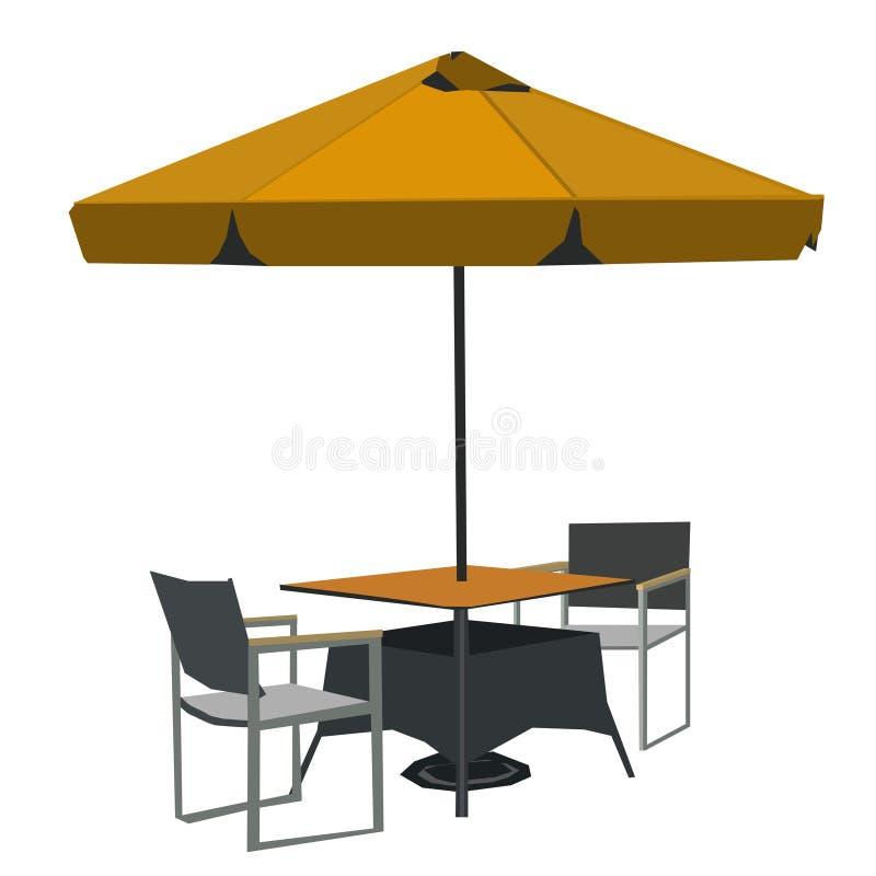 Tabelle mit einem großen Regenschirm, das Vektorbild stock abbildung