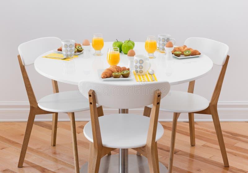 Tabelle mit gesundem Frühstück stockbilder
