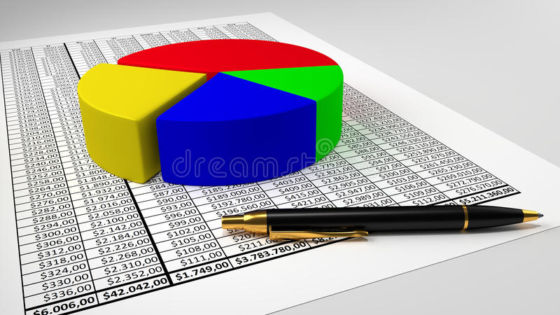 Tabelle mit Kreisdiagramm und Stift stockfotos