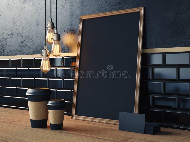 Tabelle mit leeren schwarzen Elementen und Retro- Lampen lizenzfreies stockfoto