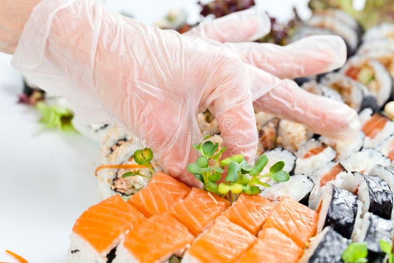 Tabelle mit Meeresfrüchten stockbild
