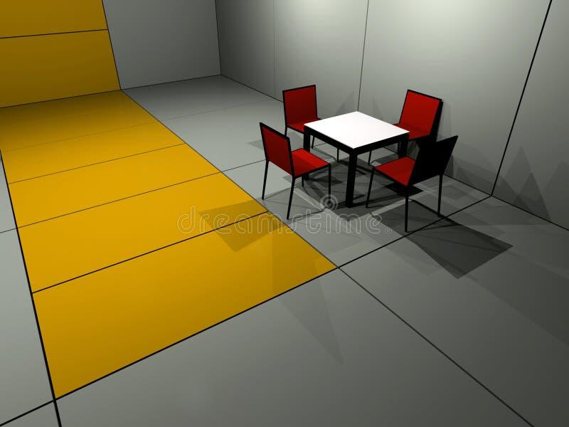 Tabelle mit vier Stühlen stock abbildung