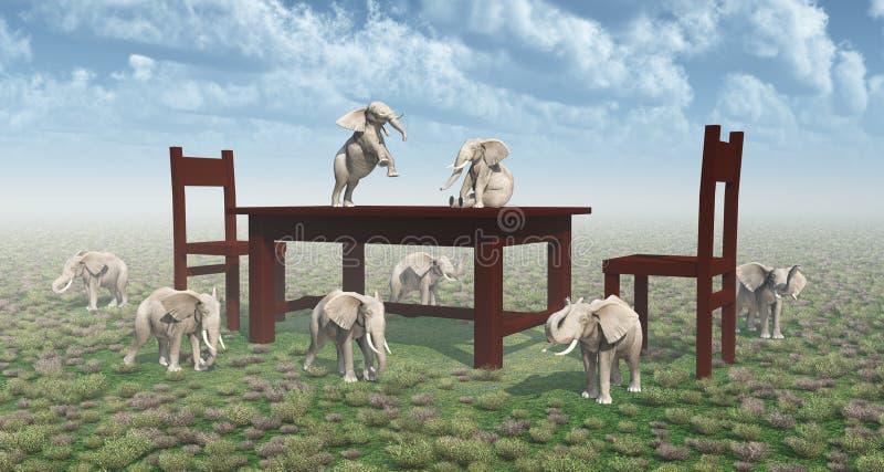 Tabelle, Stühle und zwergartige Elefanten lizenzfreie abbildung