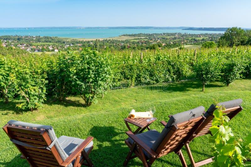 Tabelle und Stühle über dem Plattensee auf dem romantischen Datum des Hügels, Picknick, essend auf Natur Csopak-Weinprobe stockfotos