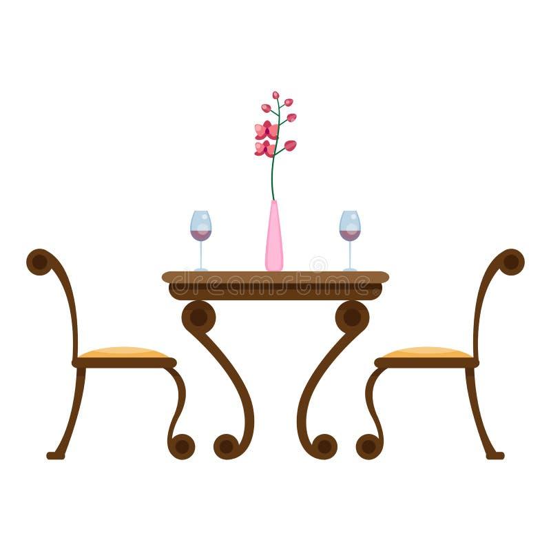 Tabelle und Stühle mit Gläsern und Vase mit Blume Speisen von Küchenmöbeln vektor abbildung