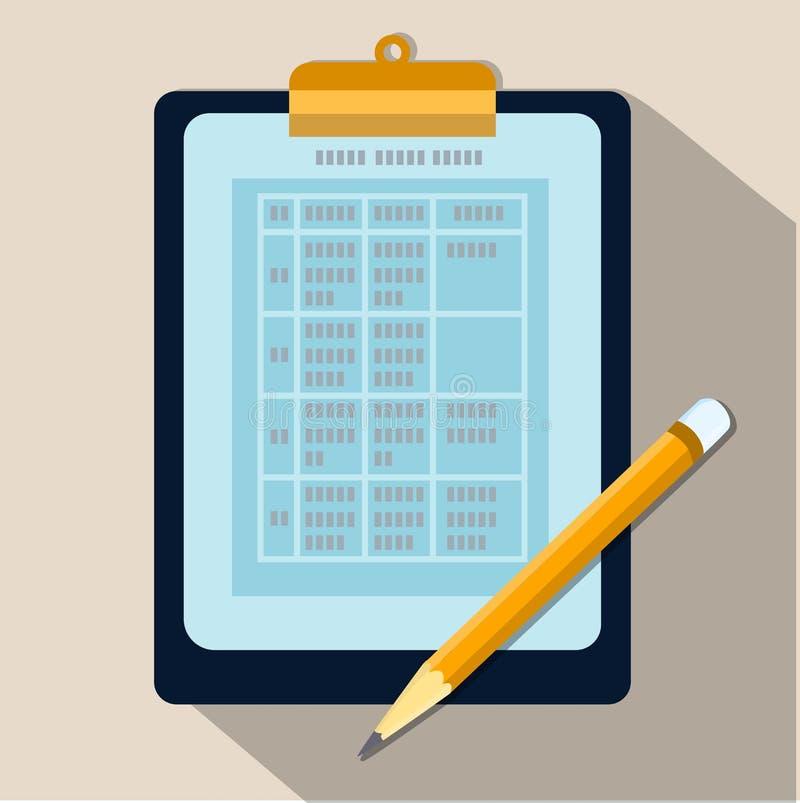 Tabelle von Daten bezüglich des flachen Designs des Klemmbrettes und des Bleistiftvektors stock abbildung