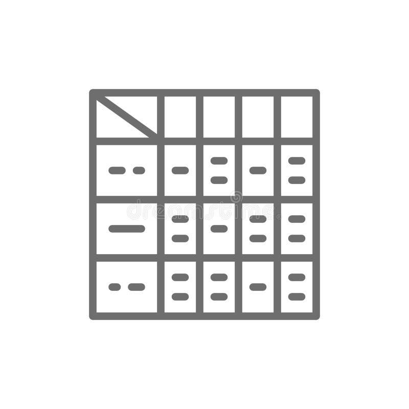 Tabelle von medizinischen Drogen, DiabetesKontrollkarte, Nahrungsmittelnährstoffe, tägliche Bestandteilmengenlinie Ikone vektor abbildung