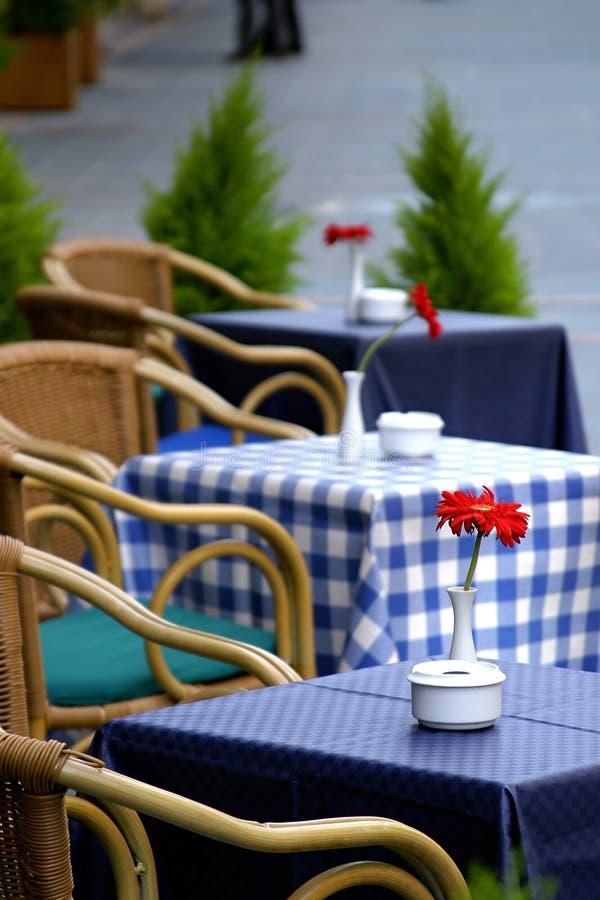 Download Tabelle Vuote Sulla Via Con Le Rose Su Loro Fuori Di Una Barra O Di Un Ristorante Del Caffè. Fotografia Stock - Immagine di abete, andato: 125522