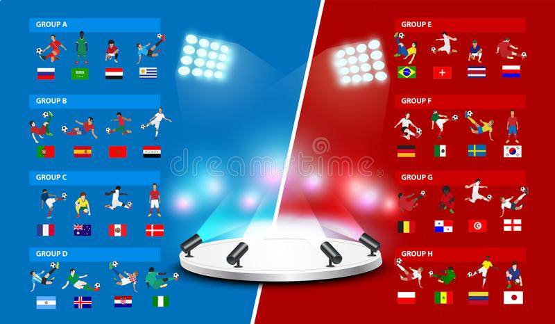 Tabellefußballweltturnier 2018 in Russland lizenzfreie abbildung