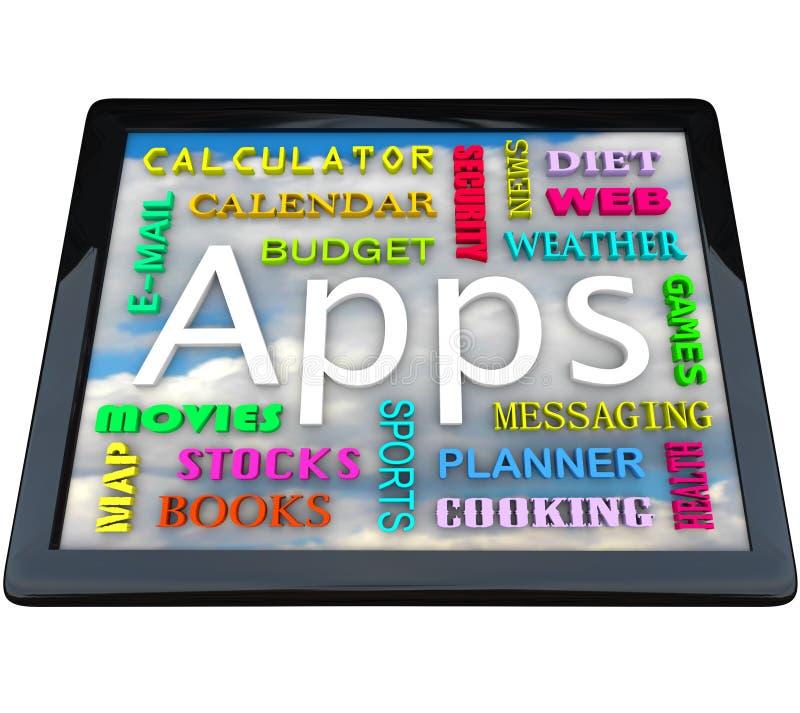 Tabellen-Computer - Apps Wörter für Anwendungen stock abbildung